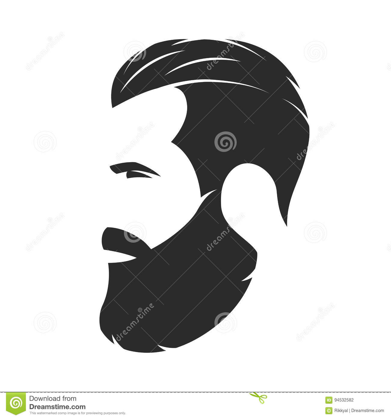 silhouette of a bearded man hipster style barber shop