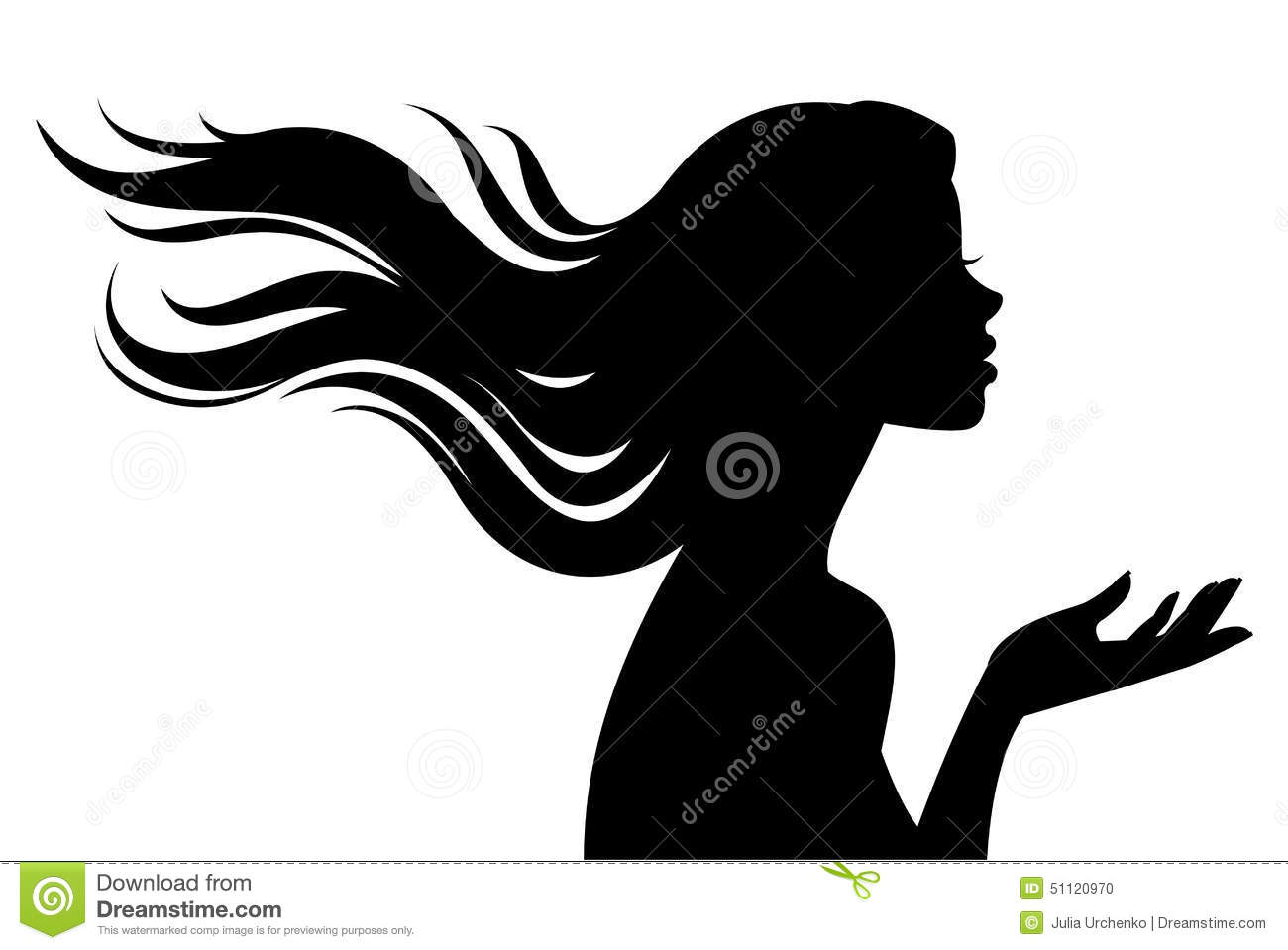silhouette of beautiful girl in profile with long hair Business Clip Art Businessman Icon