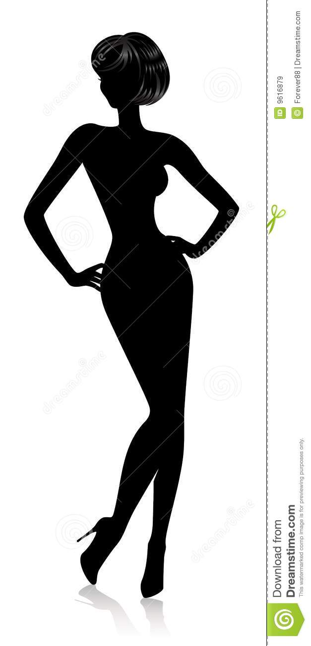 Silhouette Beautiful Woman Stock Vector Image Of Black