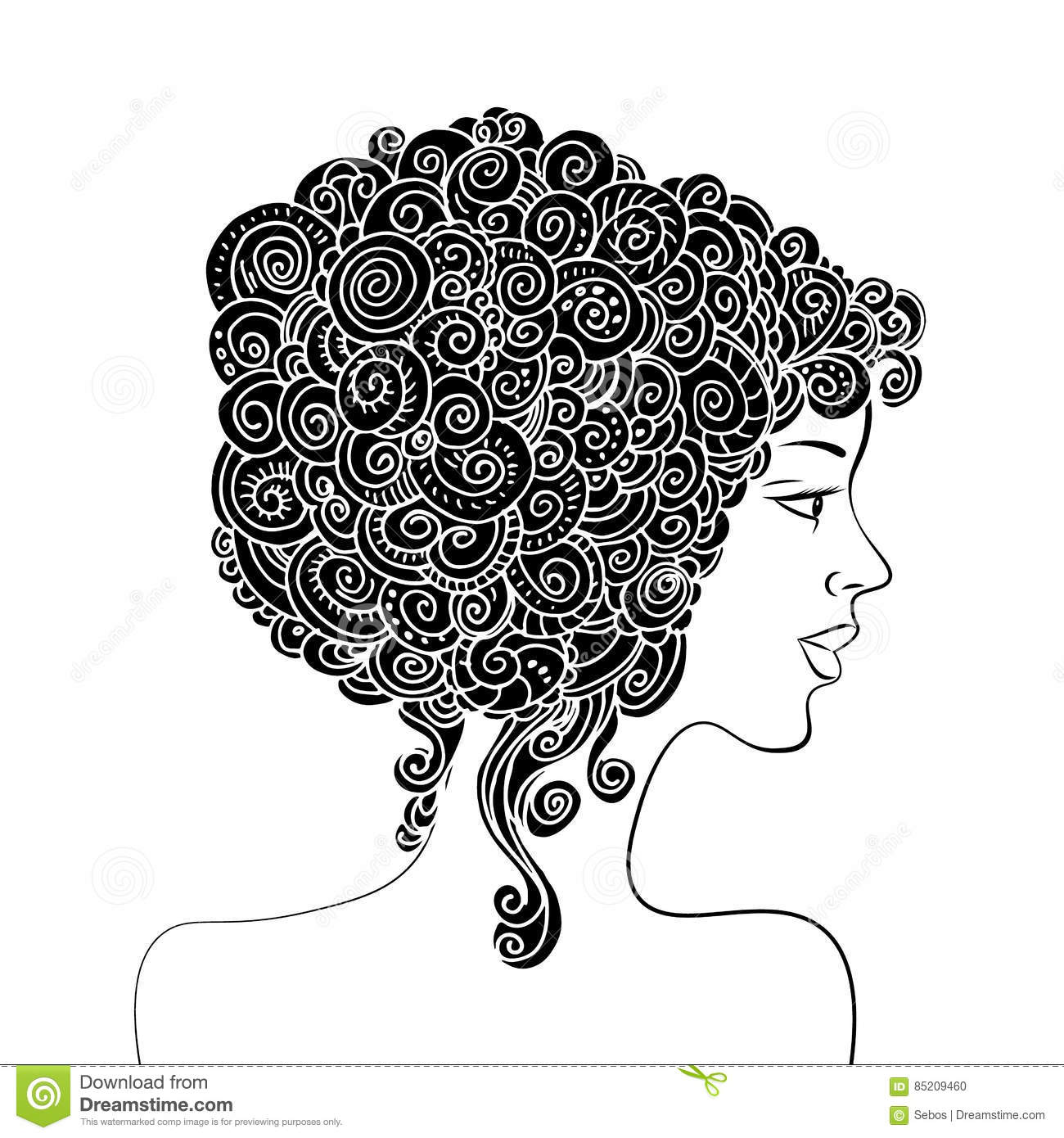 Silhouette Of A Beautiful Woman With Curly Hair Monochrome Abstract