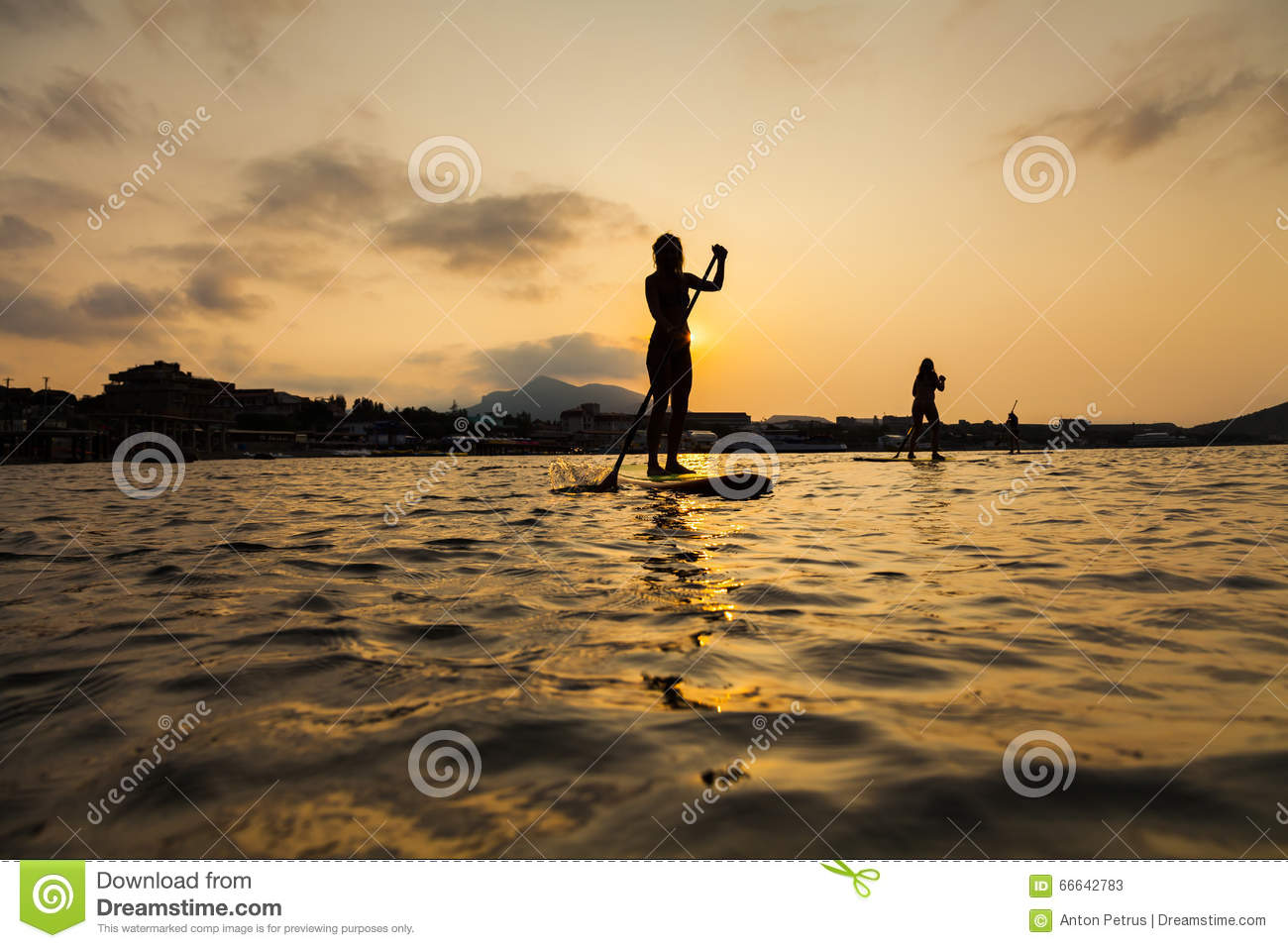Silhouette Of A Beautiful Woman On Stand Up Paddle Board