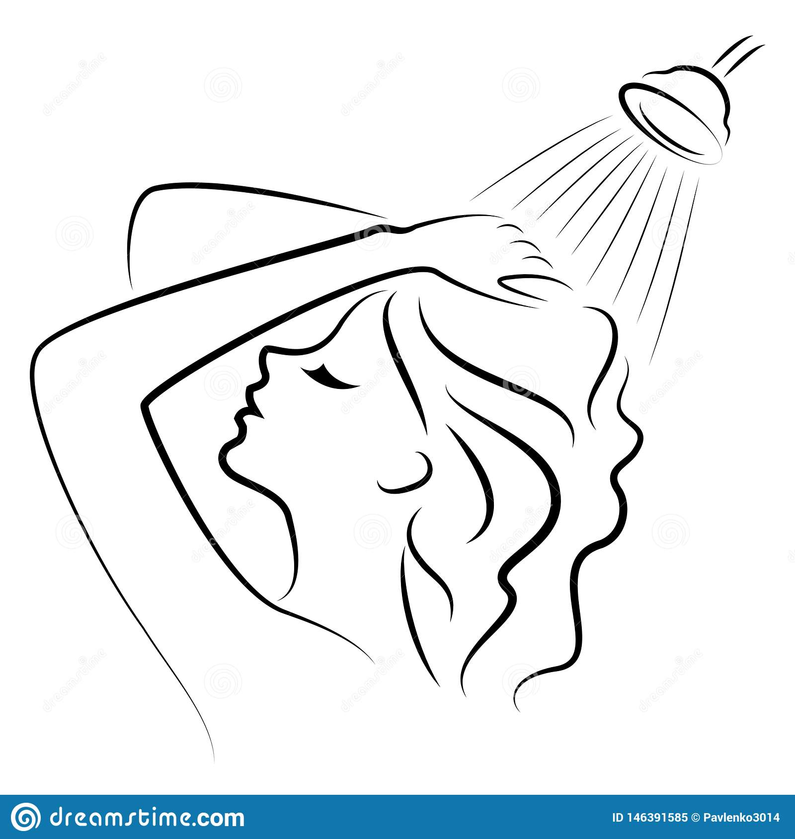 Silhouette of a cute young lady. The girl washes in the shower. A woman washes her hair with shampoo. Vector illustration