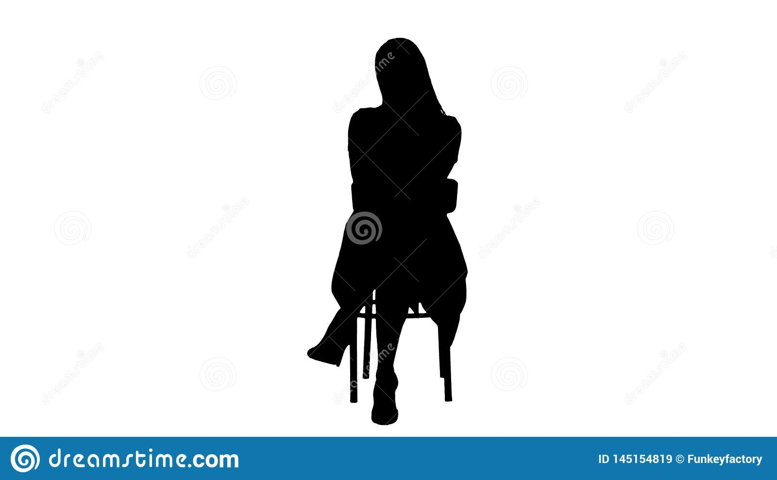 Silhouette Beautiful young woman, girl, model blonde with long hair sitting on a chair and looking to camera.