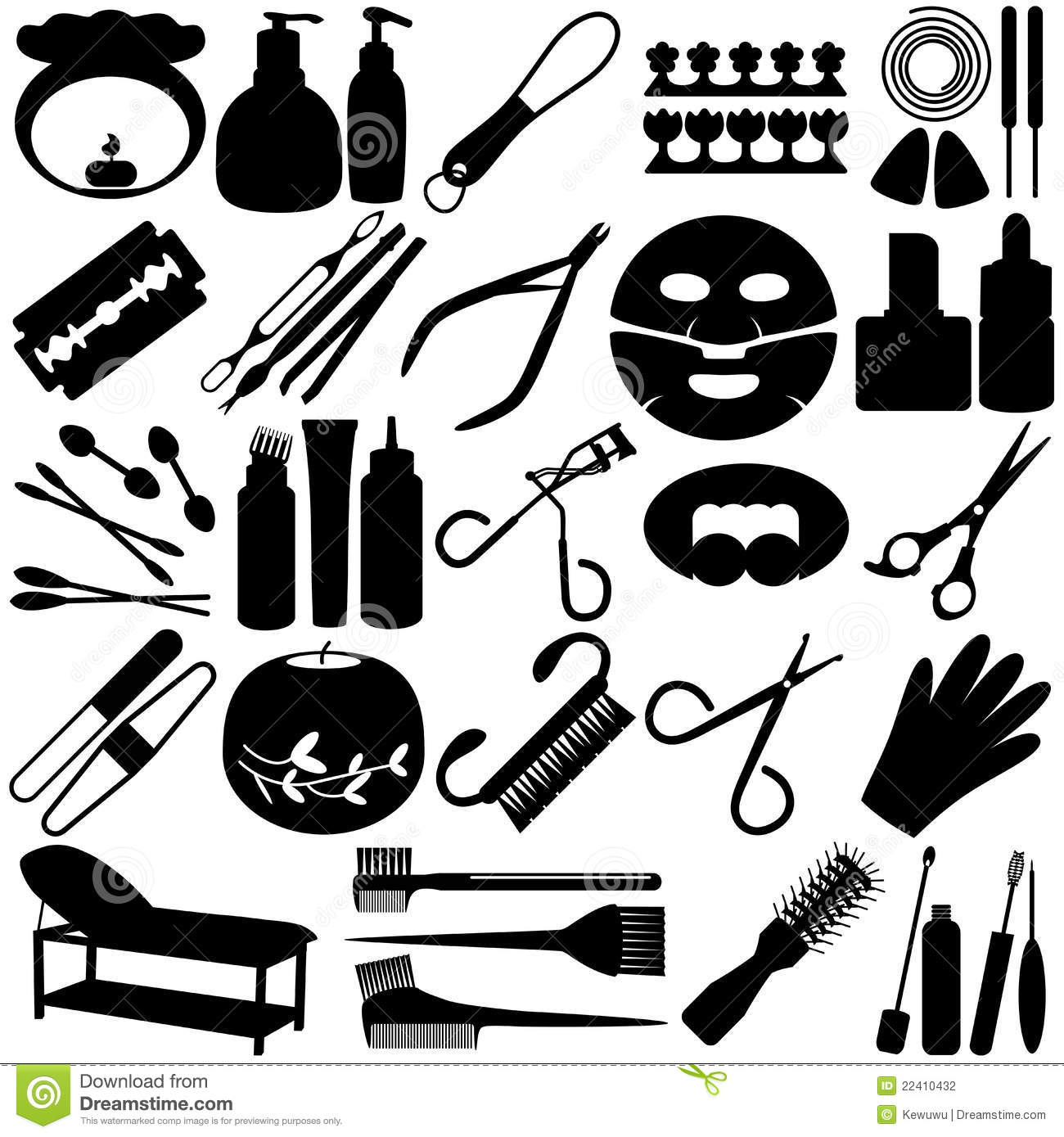Silhouette Of Beauty Tools Spa Icons Cosmetics Stock