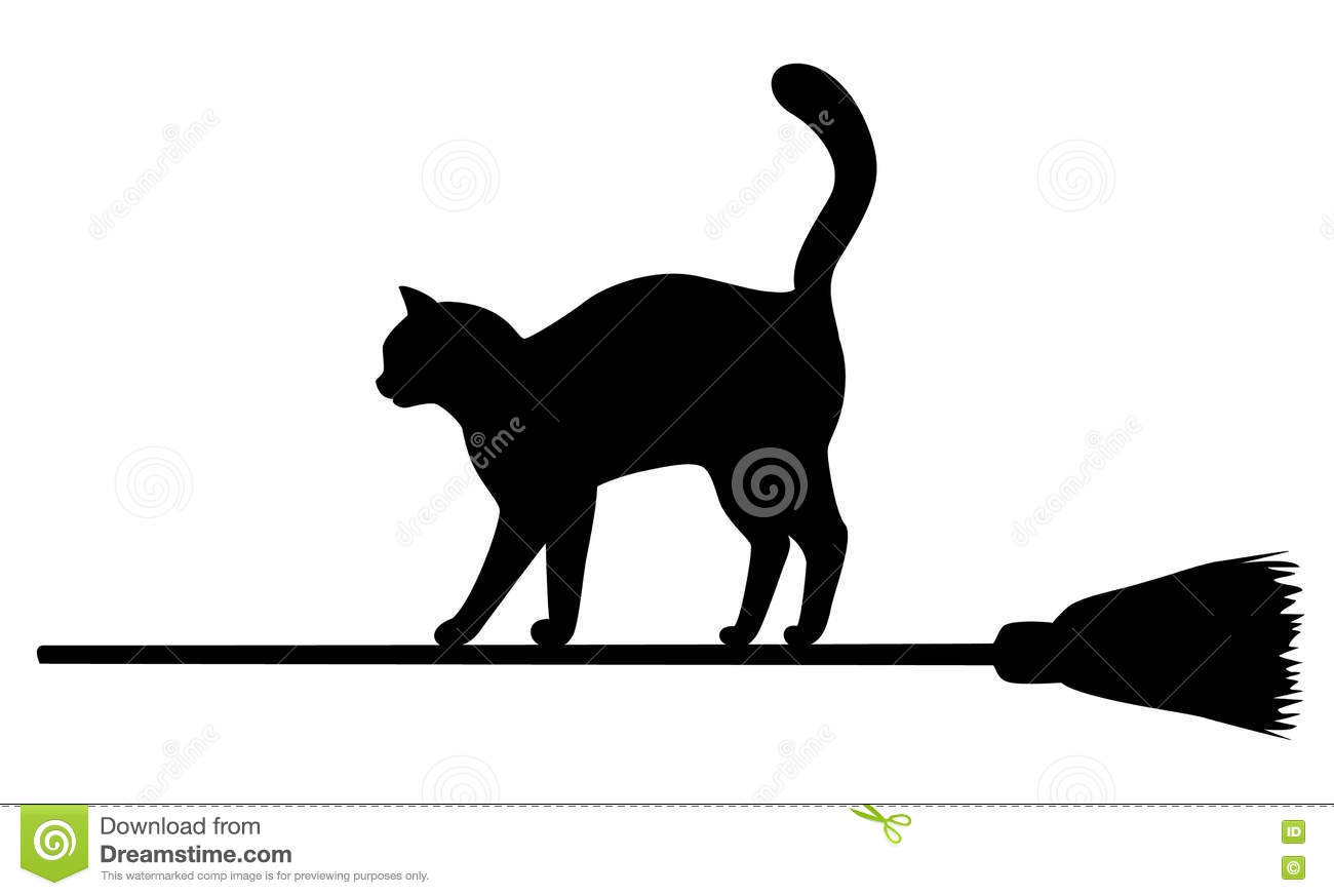 Silhouette Of Black Cat On Broomstick Stock Vector