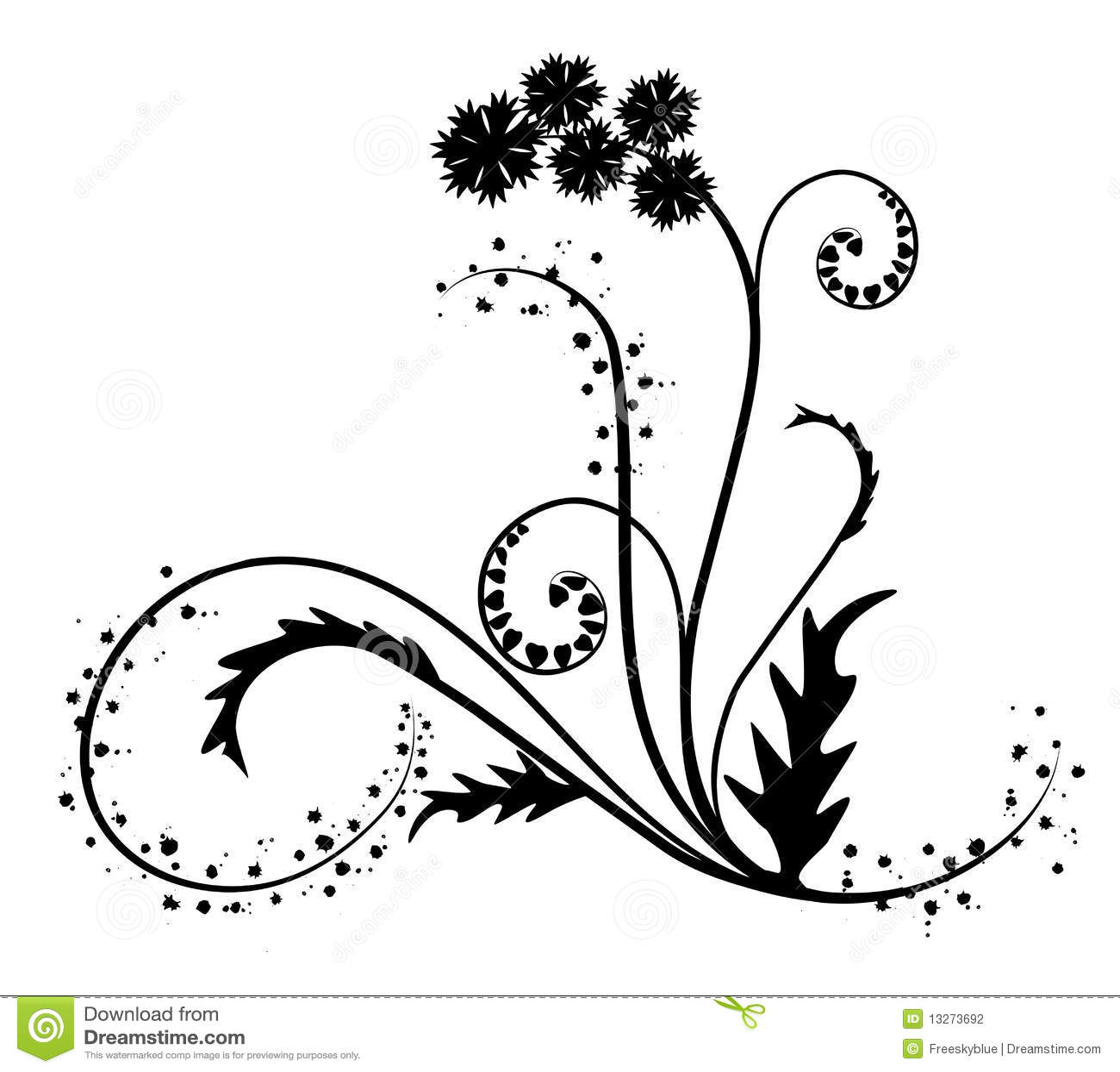 Black Flower Silhouette Pattern Royalty Free Stock Images: Silhouette Of Black Flower Pattern Stock Illustration