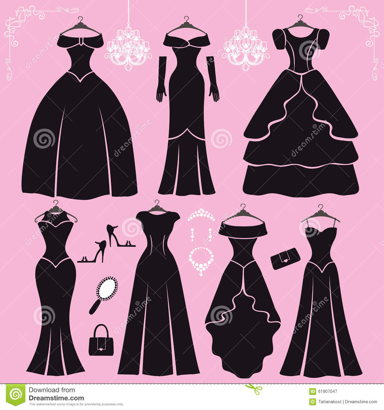 Silhouette Of Black Party Dresses,accessories Stock Vector