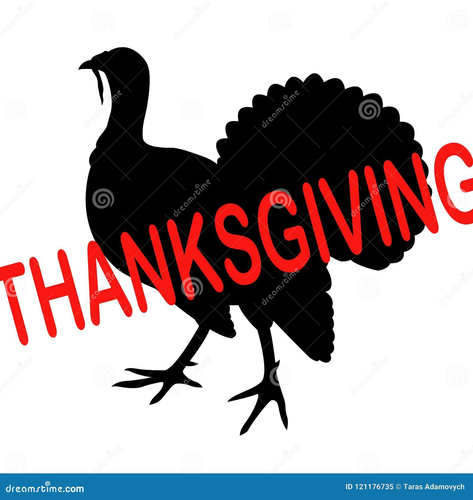 Silhouette Black Turkey Inscription Thanksgiving Stock Vector Illustration Of Humor Meal 121176735