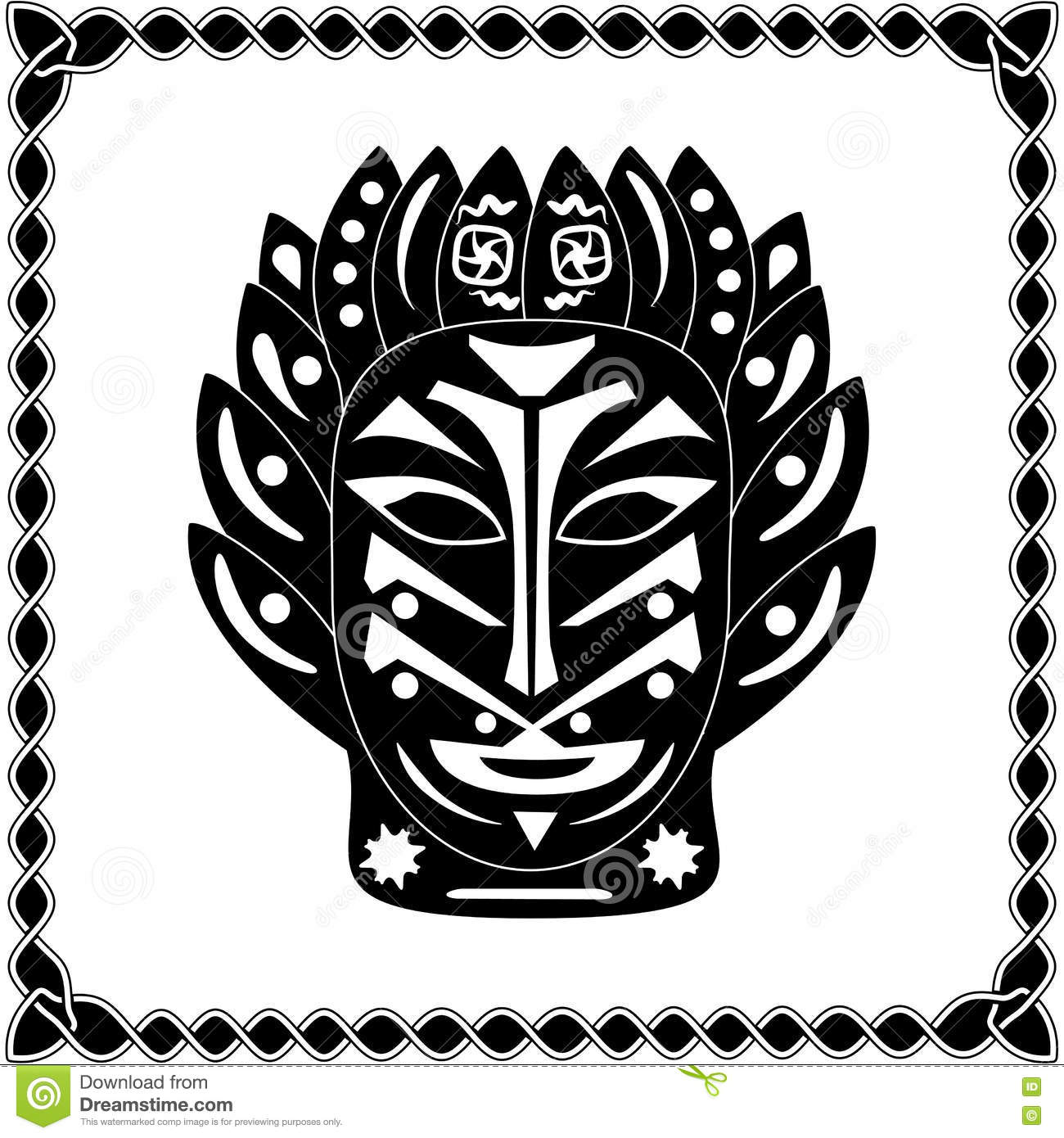 silhouette black white mask shaman native american or african tr