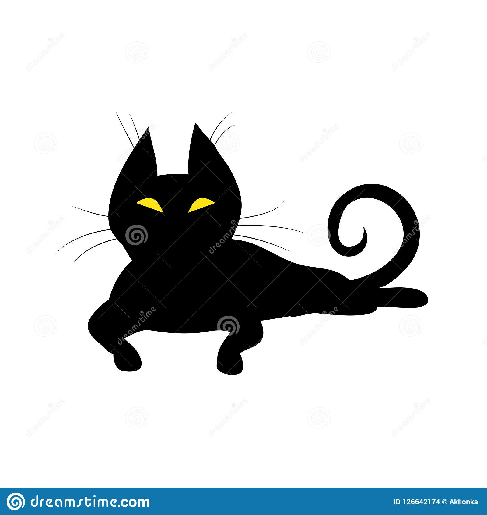 Silhouette Of Black Witch Cat With Yellow Eyes Stock Vector Illustration Of Icon Flat 126642174