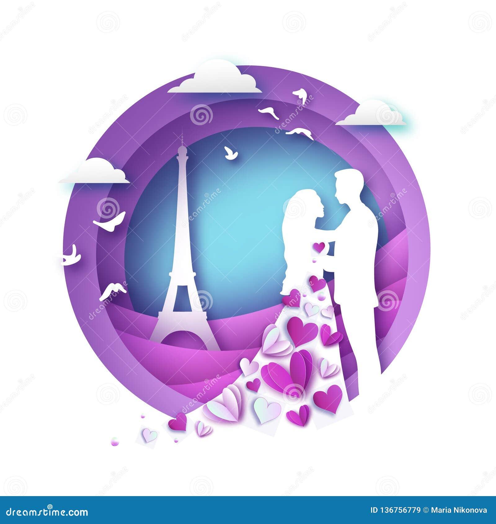 Silhouette blanche des amants romantiques avec Tour Eiffel dans le style de coupe de papier de Paris Amour Vacances d origami pou