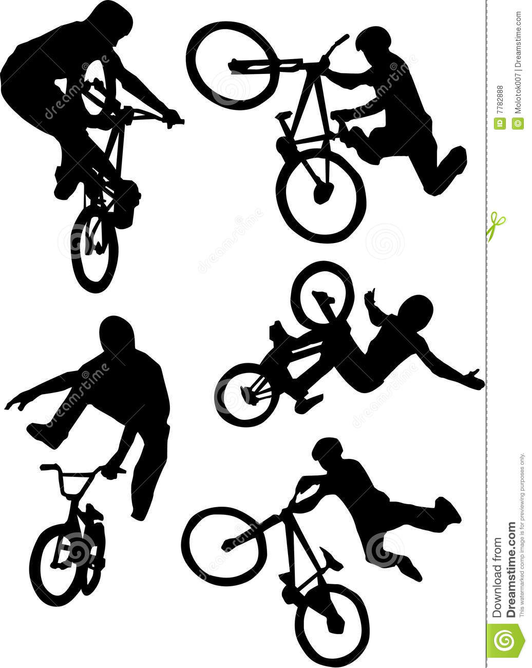 Silhouette of bmx riders on a white background.