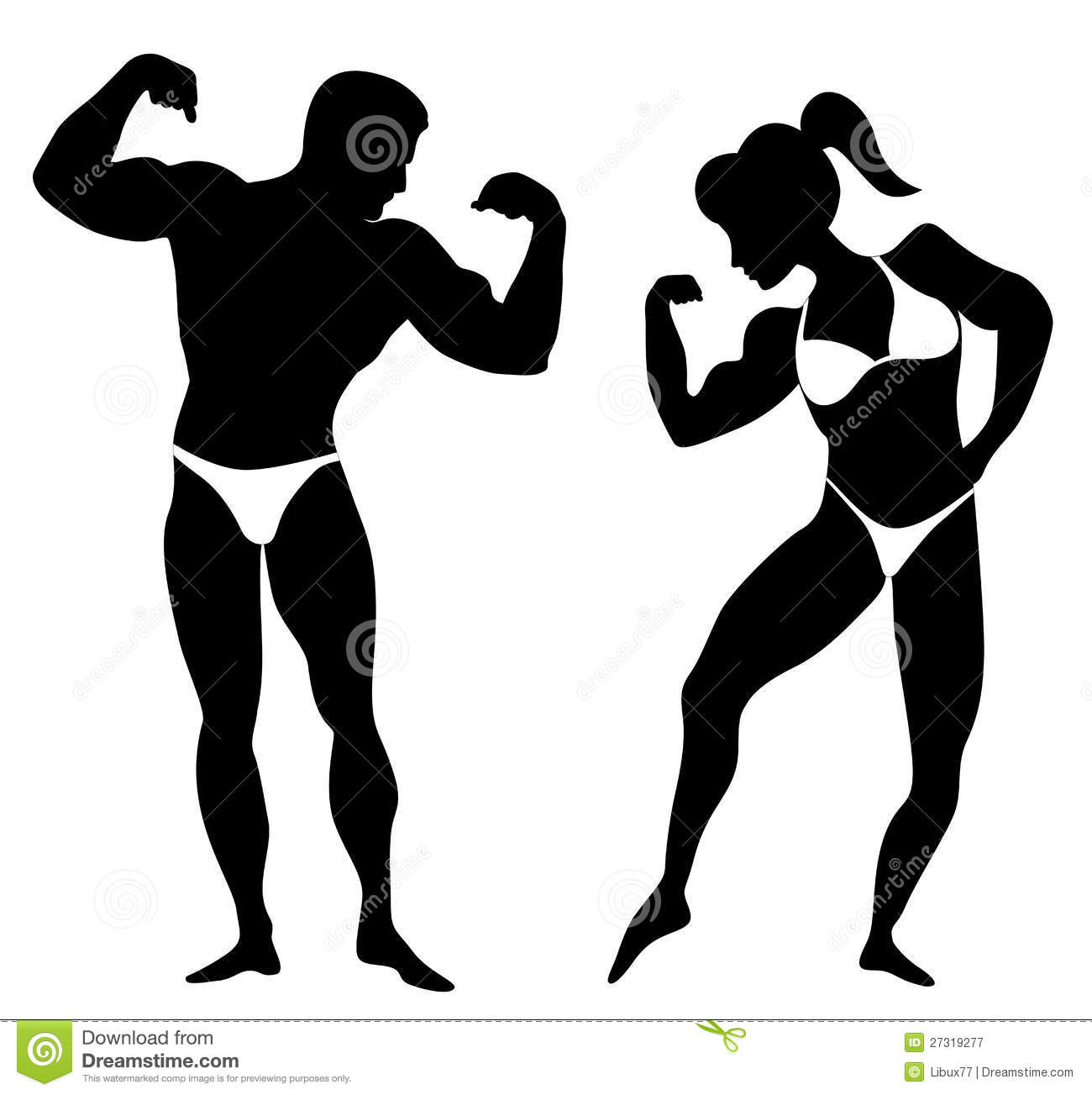 Silhouette Of Body Builders Stock Vector - Illustration of
