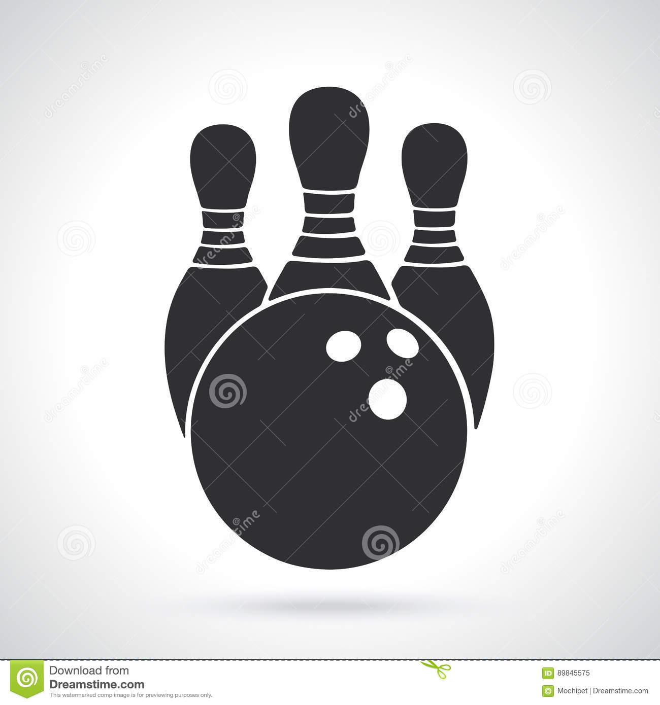 silhouette of bowling ball and pins stock vector illustration of