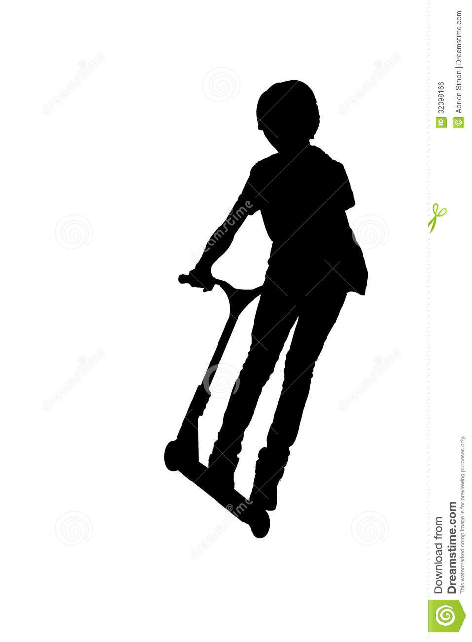 Silhouette Of A Boy With His Scooter Stock Illustration