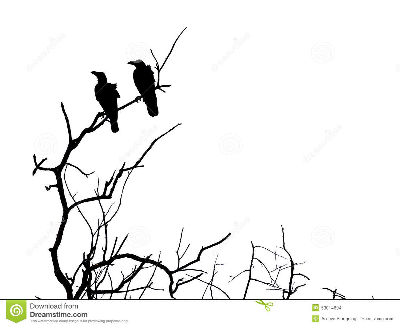 Silhouette Branch Of Dead Tree And Crow Stock Photo ...