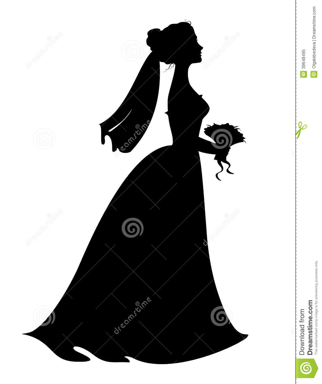 Silhouette of bride with bridal bouquet. Eps 8 vector illustration.