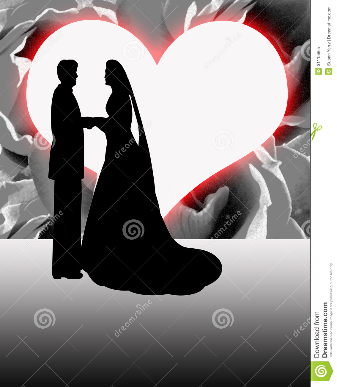Silhouette Bride And Groom Heart Shaped Moon Royalty Free Stock Photo