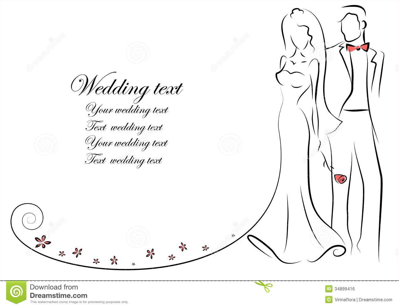 Line Art Wedding : Silhouette of bride and groom vector stock