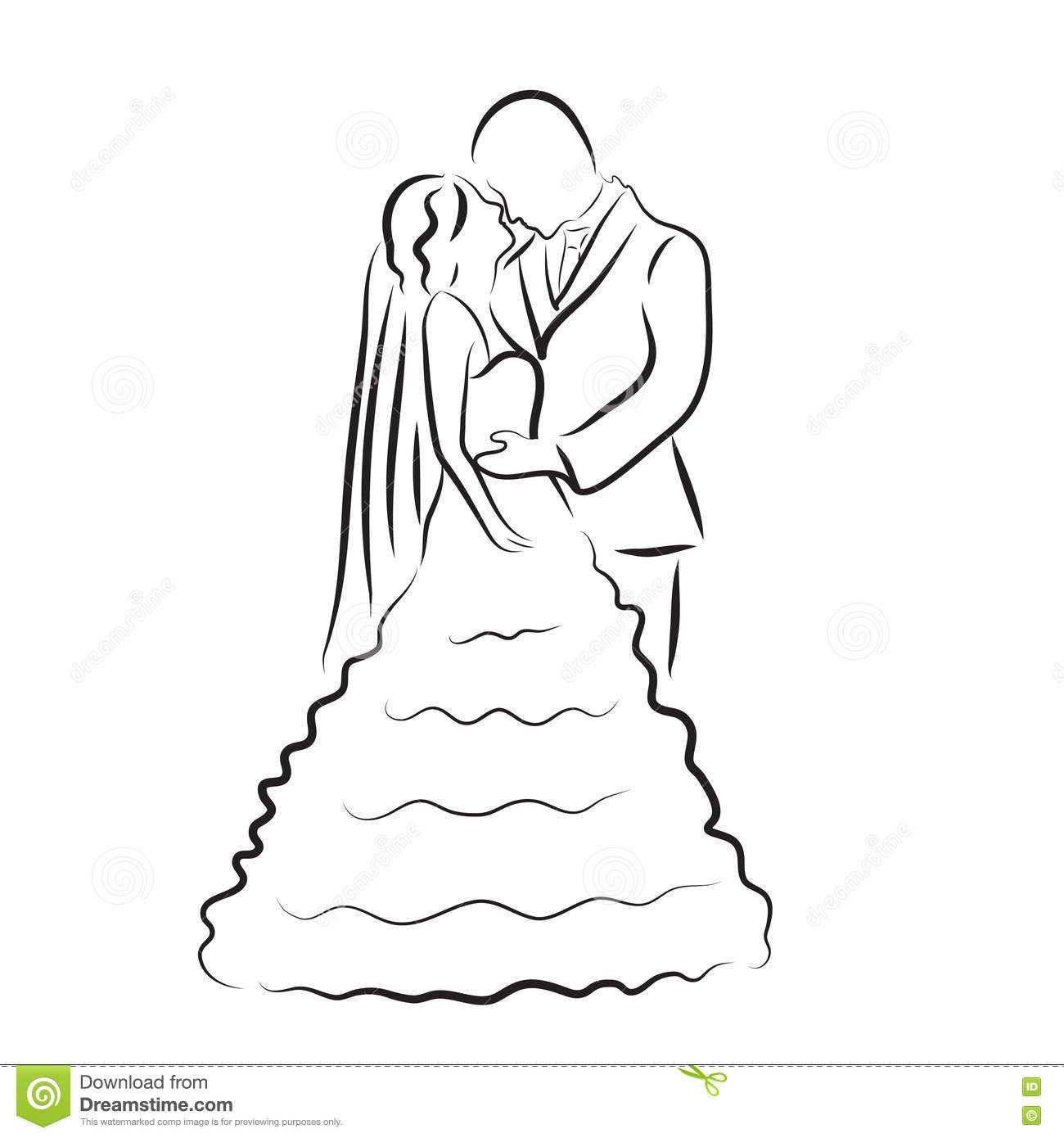 Line Art Wedding : Silhouette of bride and groom newlyweds sketch hand