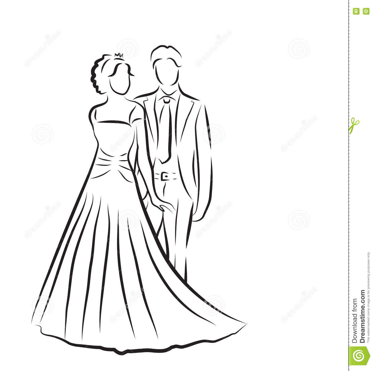 Silhouette Of Bride And Groom, Newlyweds Sketch, Hand Drawing ...