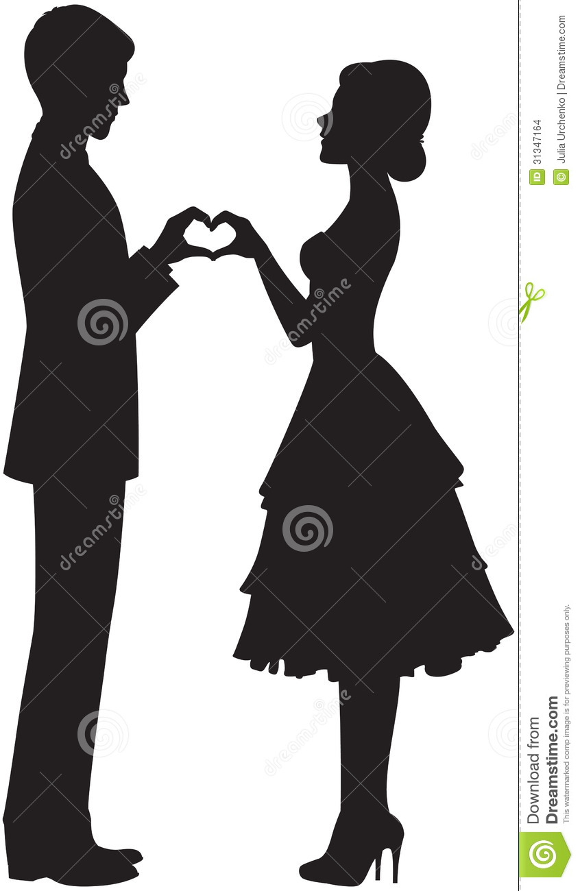 Silhouette Of Bride And Groom Stock Vector - Illustration -7650