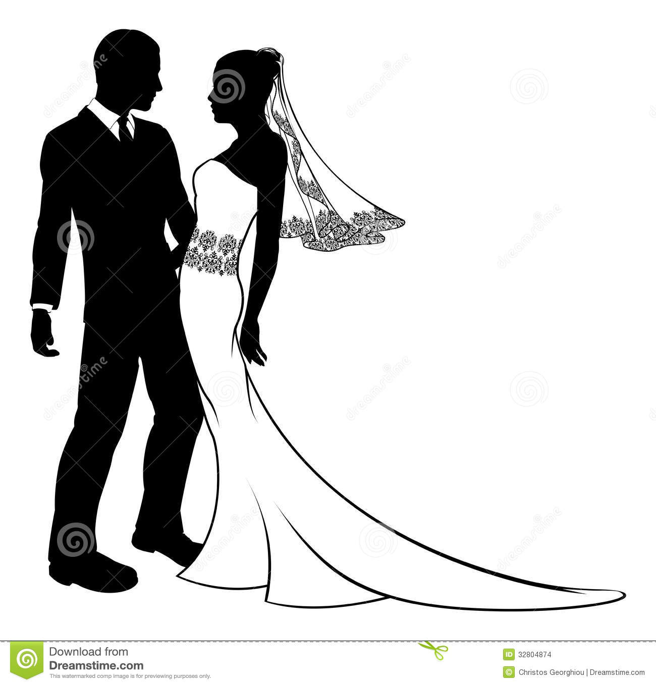 First Night Clip Art : Silhouette of bride and groom wedding couple stock vector