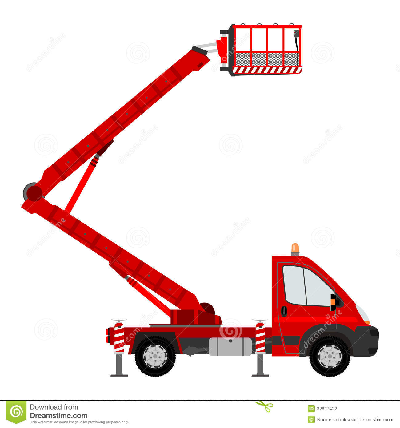 Silhouette Of Bucket Truck Stock Photography - Image: 32837422