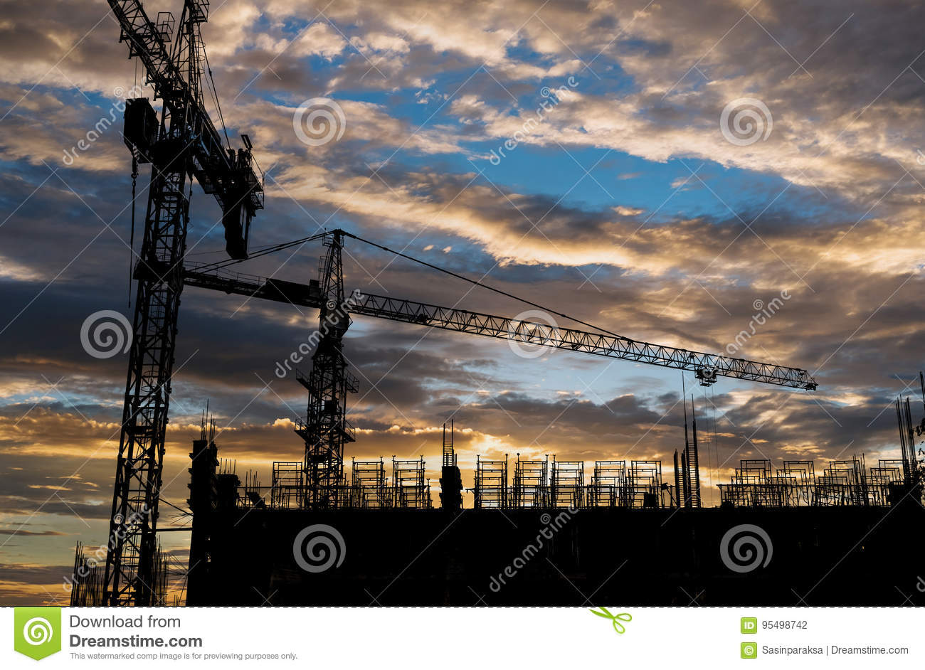 Silhouette Building Construction Site With Sunset Sky Background
