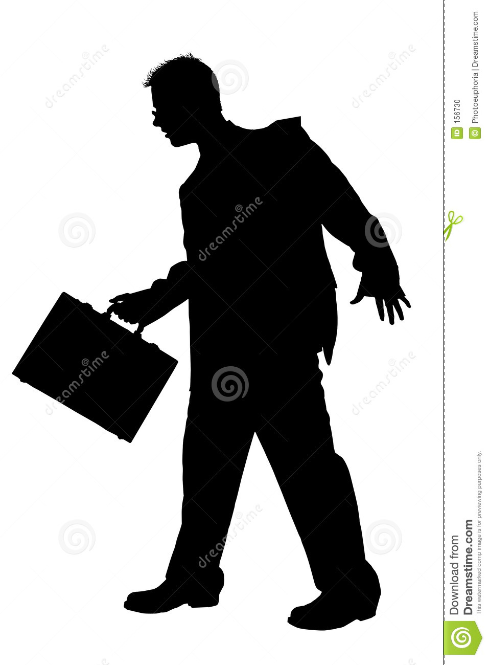 Silhouette Business Man Walking With Briefcase With Clipping Pat