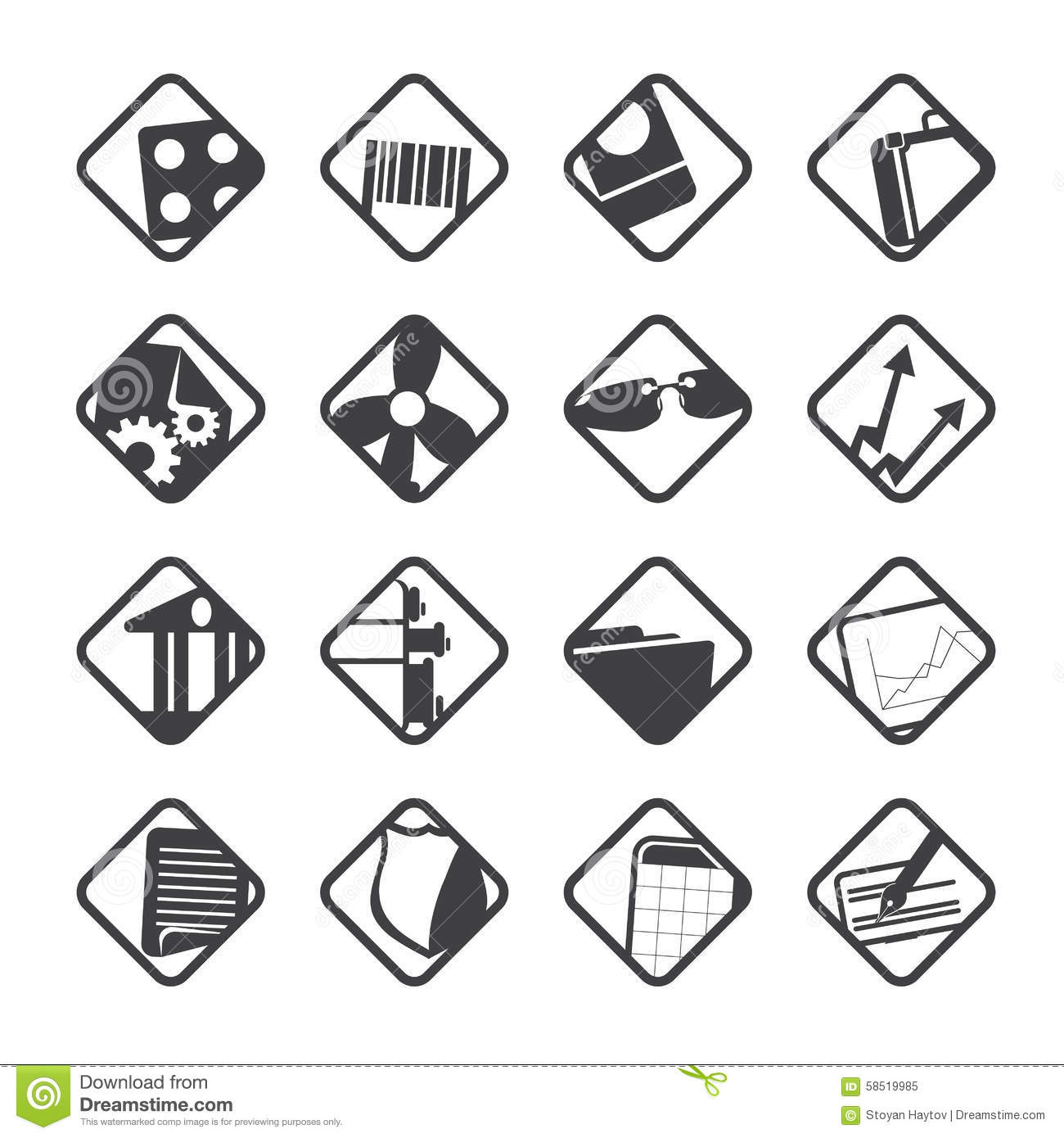 silhouette business and office icons stock vector