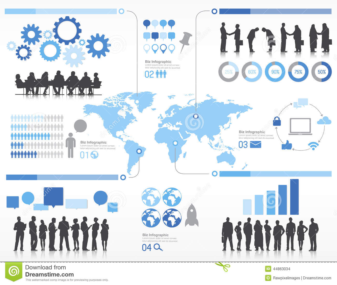 Silhouette Business People With Globalization Concept ...