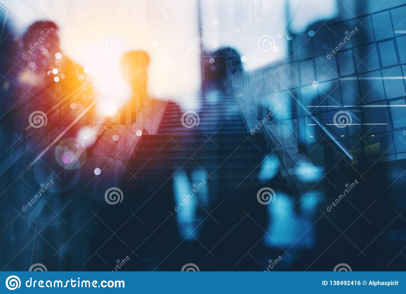 Silhouette of business people work together in office. Concept of teamwork and partnership. double exposure with light