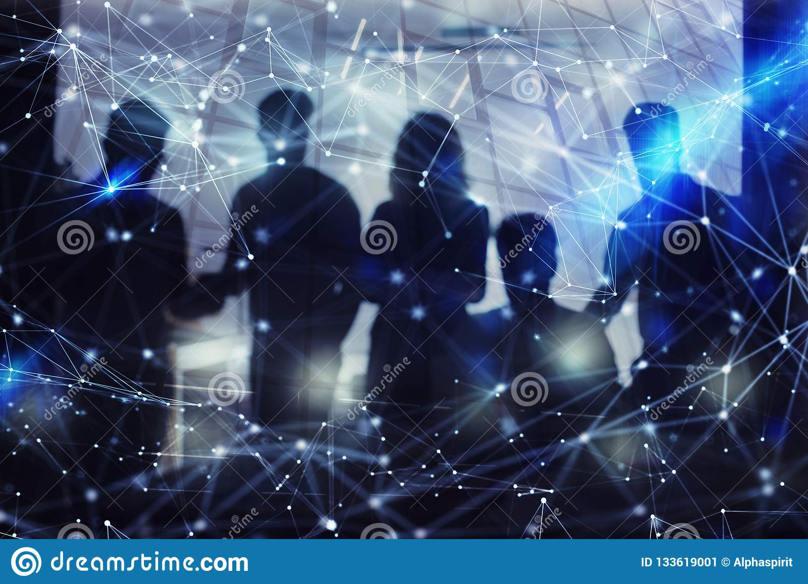 Silhouette of business people work together in office. Concept of teamwork and partnership. double exposure with network