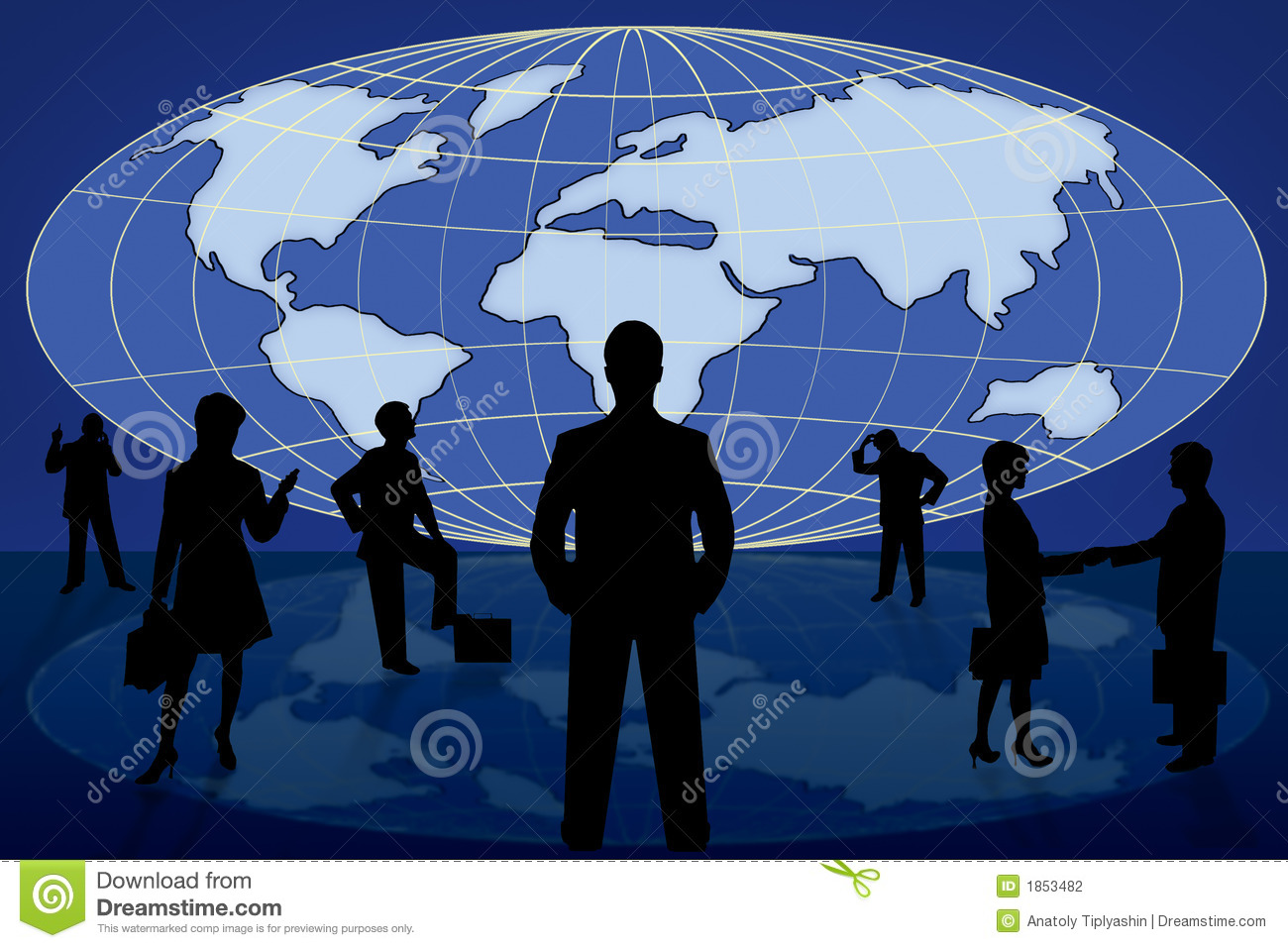 Silhouette business people on world map