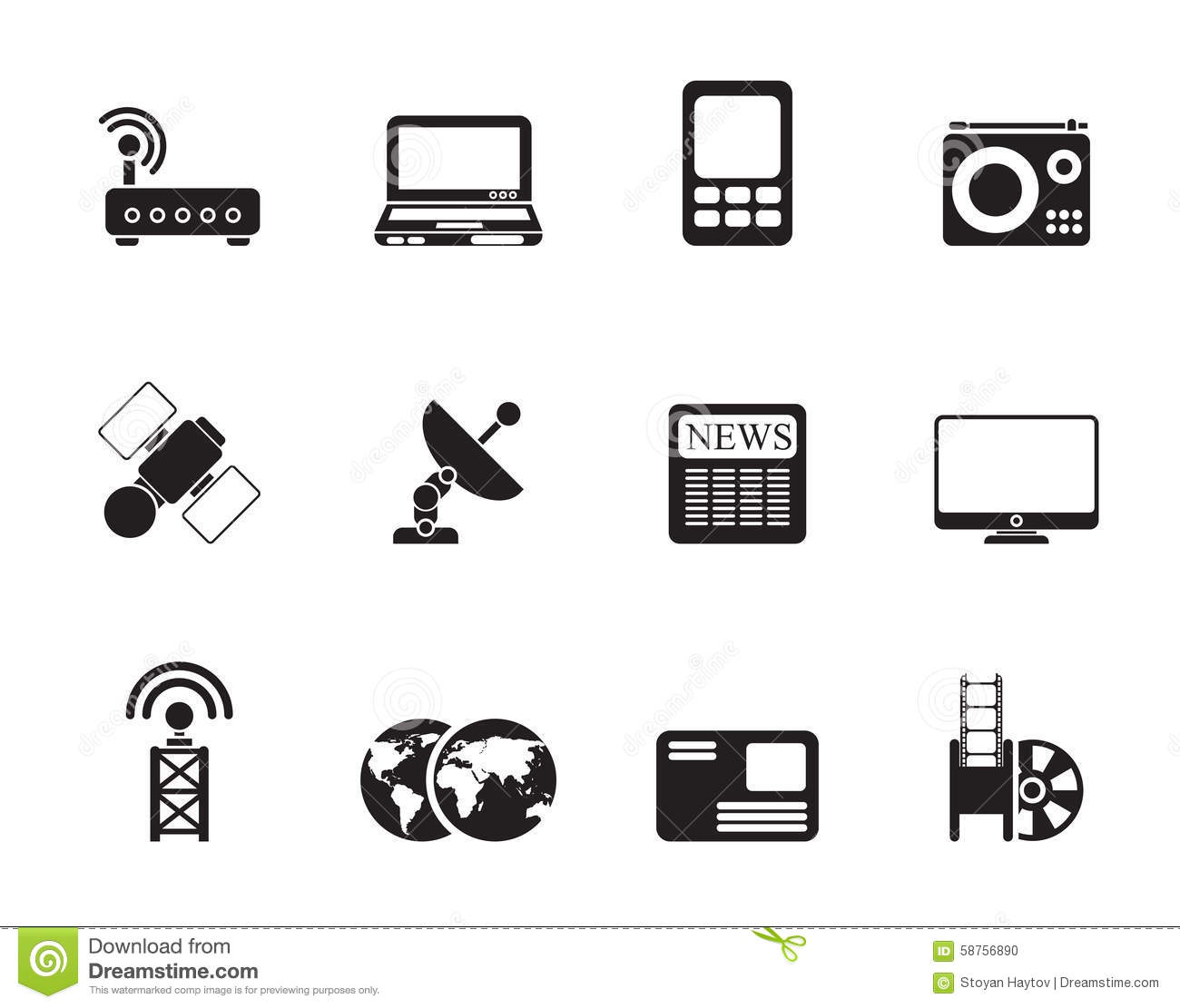 Silhouette Business, Technology Communications Icons Stock ...  Silhouette Busi...