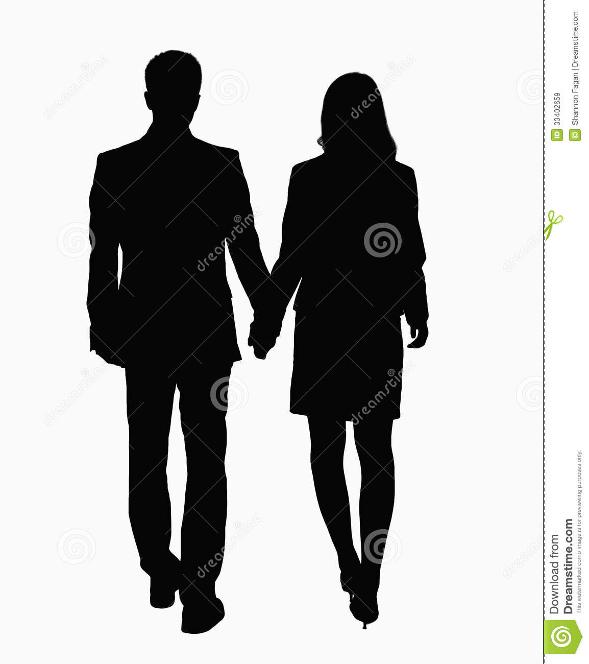 silhouette of businessman and businesswoman holding hands stock