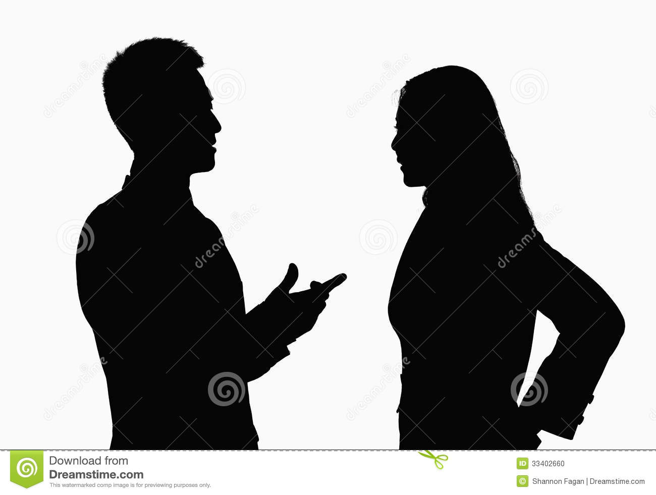 Silhouette Of Businessman And Businesswoman Talking. Stock ...