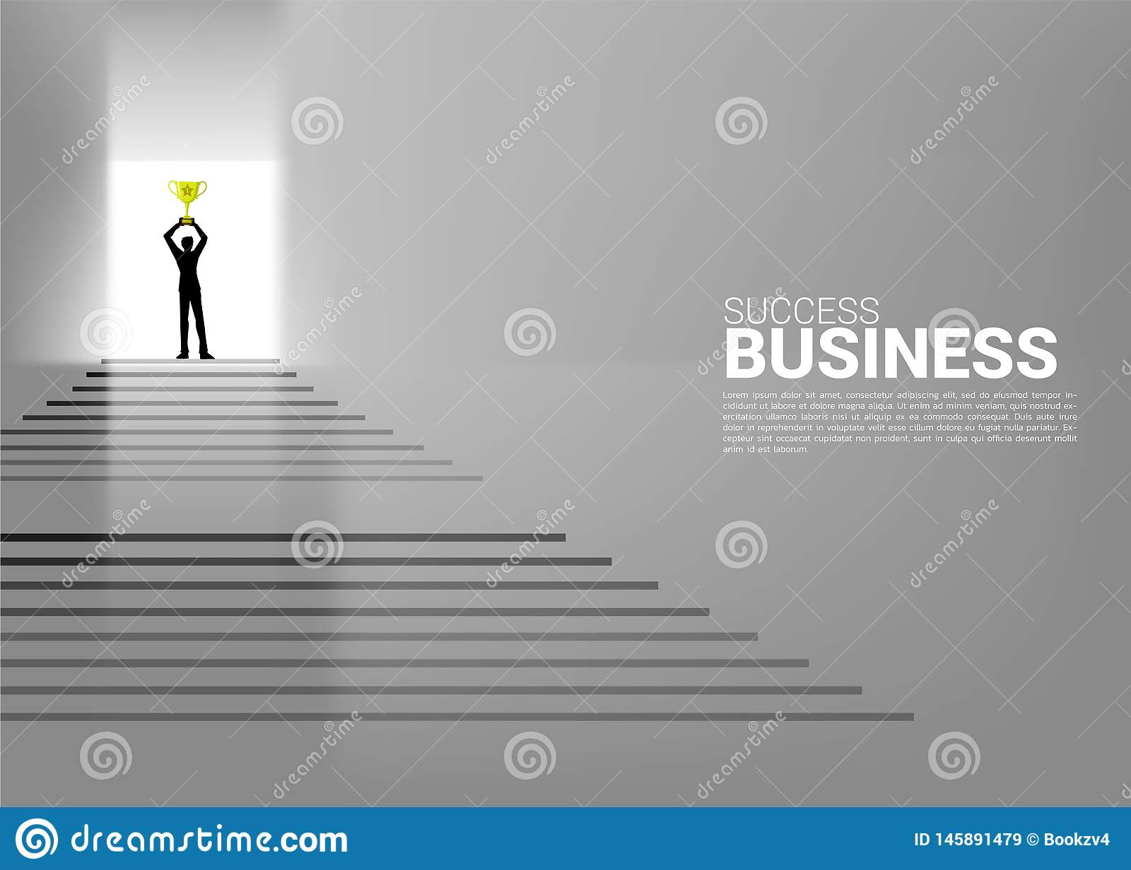 Silhouette of businessman with champion trophy on top of stair. Concept of growth business, Success in Career path royalty free stock images