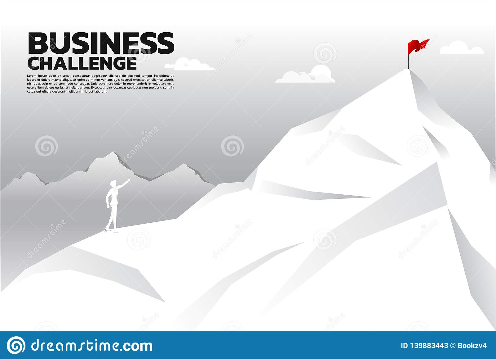 Silhouette of businessman point to flag at top of mountain. Concept of route to success.