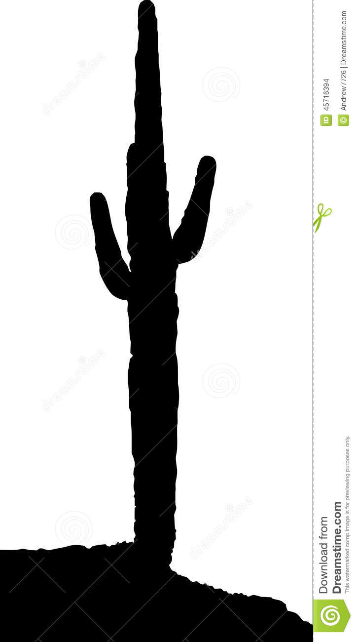 Silhouette Of A Cactus From Wild West Stock Illustration ...
