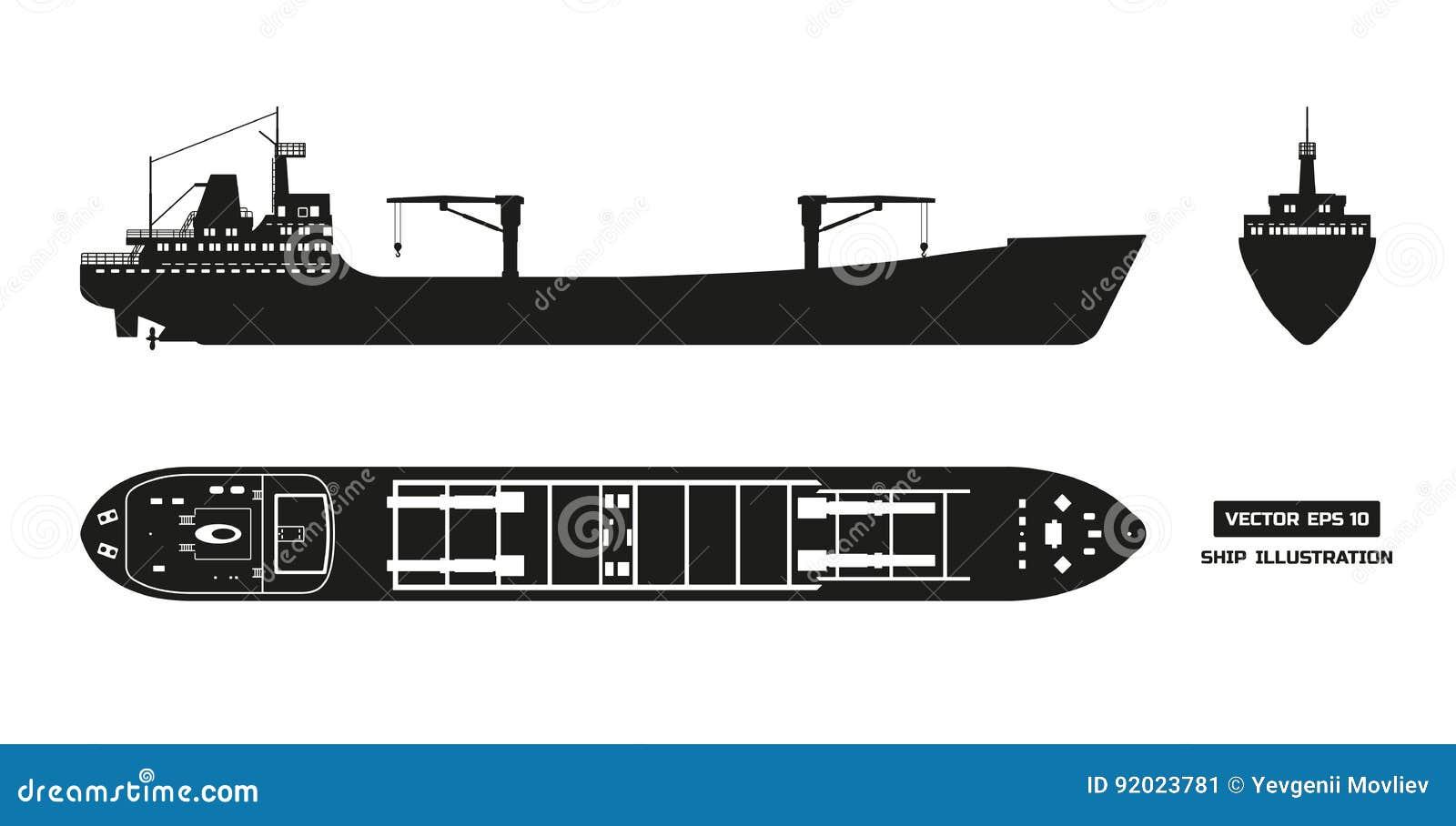Cargo Ship Clipart Danasohmk Top: Silhouette Of Cargo Ship On A White Background. Top, Side
