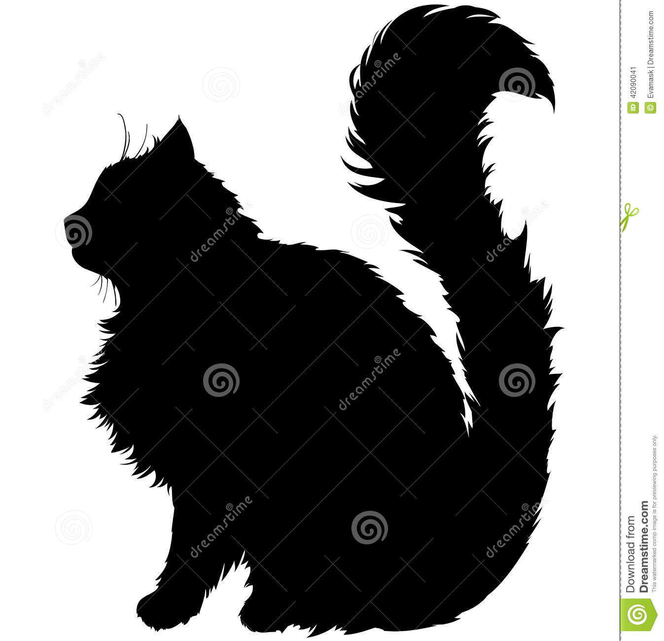 Black silhouette of a cat with a long fluffy plush tail, white ...