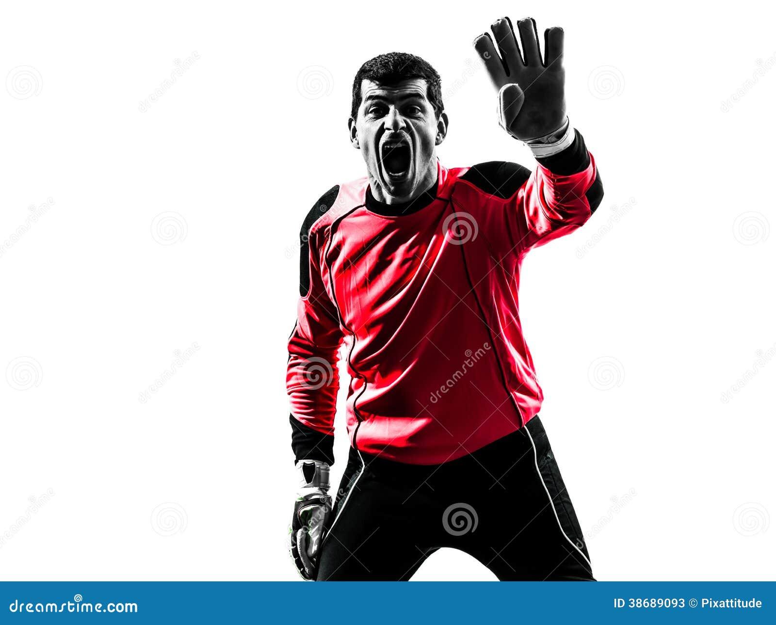Silhouette caucasienne d homme de gardien de but de footballeur
