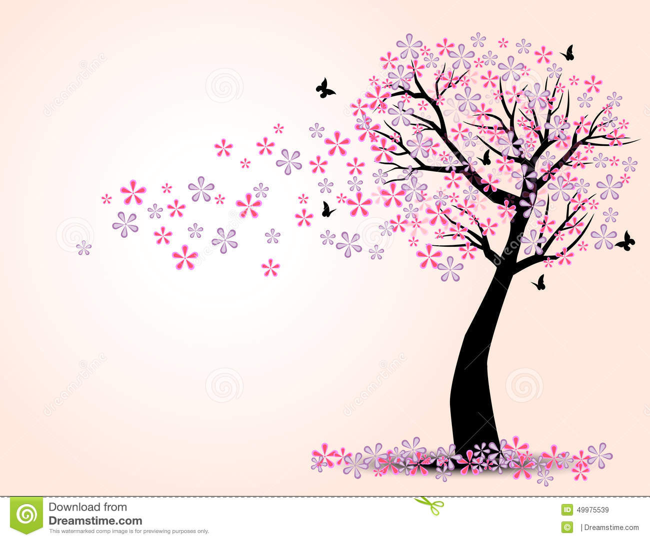 The Silhouette Of Cherry Trees And Butterfly Stock Vector