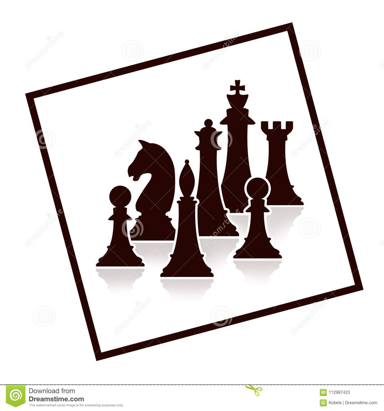 Silhouette of chess figures