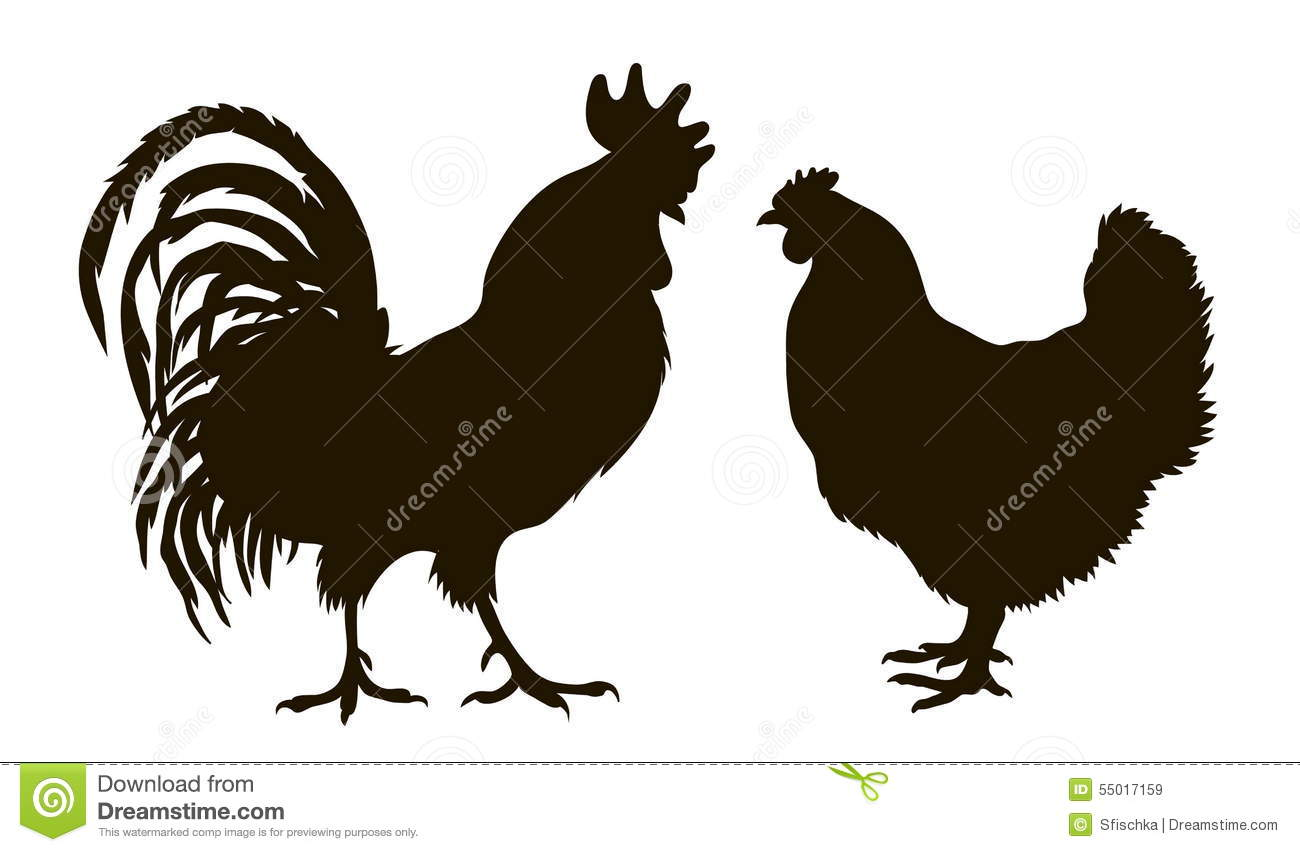 Silhouette Of Chickens Stock Vector. Illustration Of