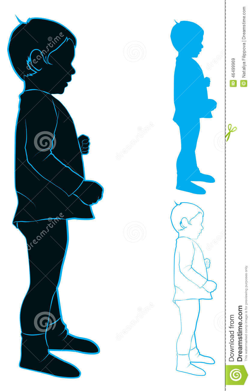 silhouette of a child stock vector image of profile