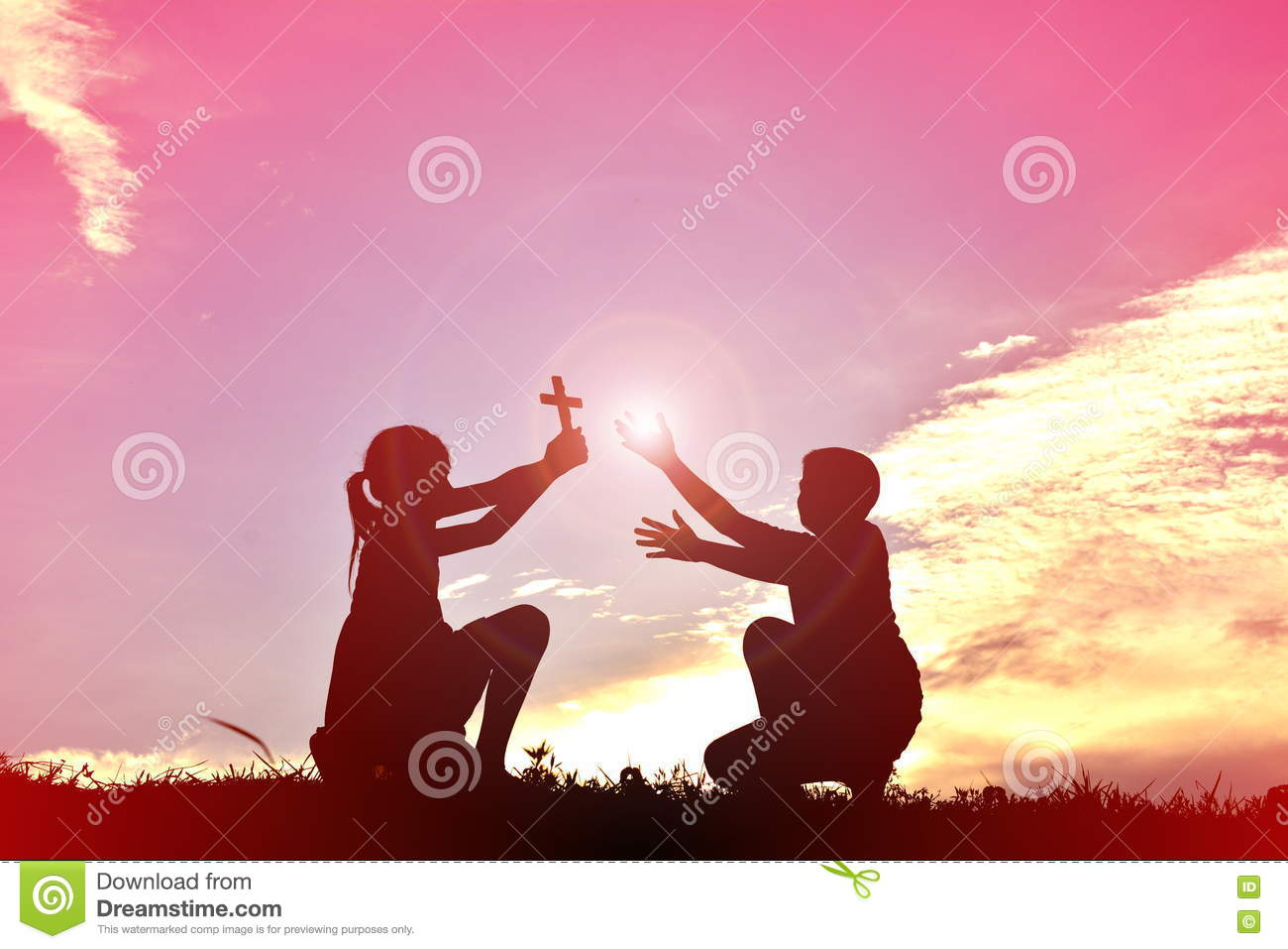 Silhouette Children Plants A Tree Stock Photo - Image of believe ...
