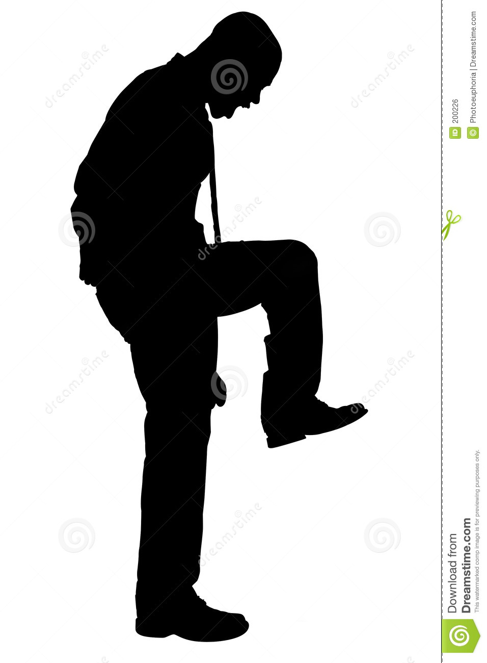 Silhouette With Clipping Path Of Angry Man Stomping Royalty Free Stock ...